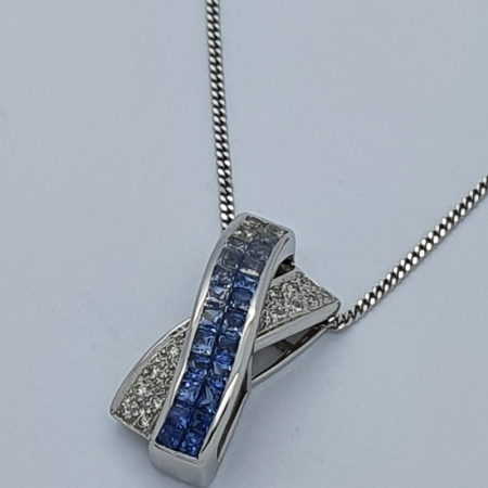 Blue Sapphire and Diamond Twist