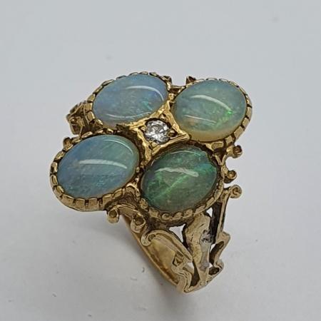 9ct YG Opal and Diamond Dress Ring