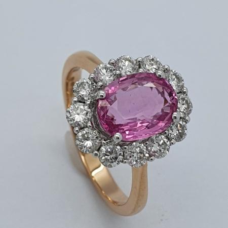 Pink Sapphire Diamond Cluster