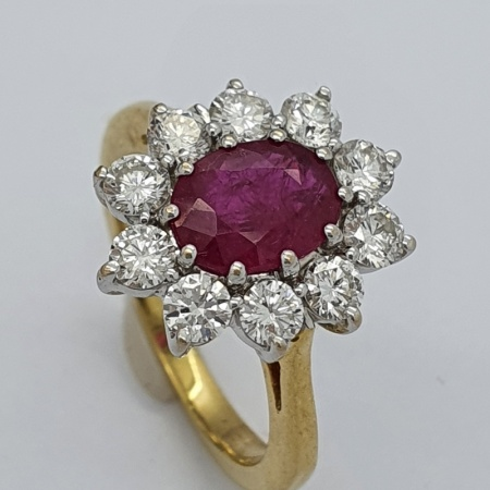 Ruby Diamond Cluster