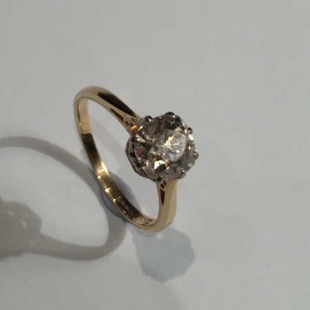 18ct Yellow Gold Old Cut Diamond Solitaire