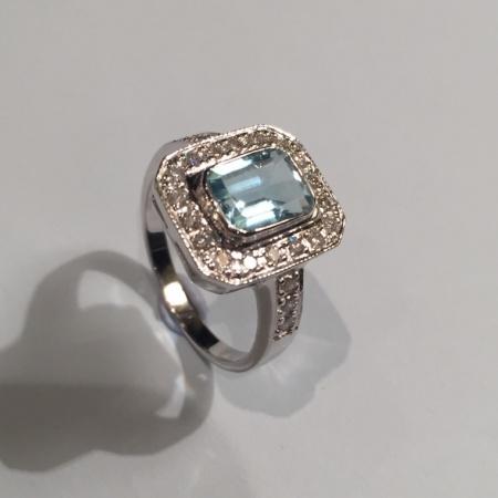 Aquamarine Diamond Dress Ring