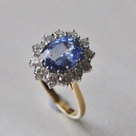18ct Ceylon Sapphire and Diamond Ring