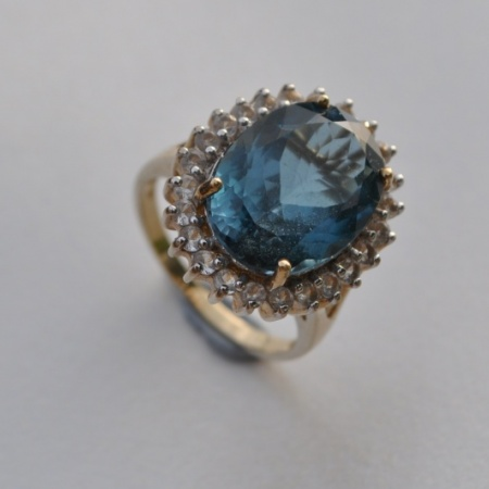 Blue and White Zircon Ring