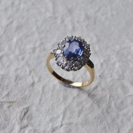 18ct Ceylon Sapphire Diamond Ring