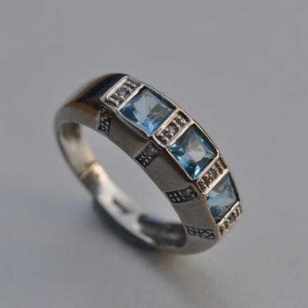 White Gold Aquamarine Diamond