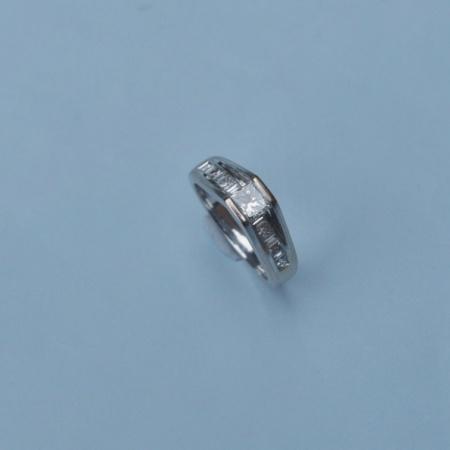 14ct White Gold Square Diamond