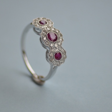 White Gold Ruby/Diamond Triple Cluster