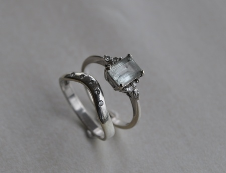 White Gold Aquamarine with Wedding Band