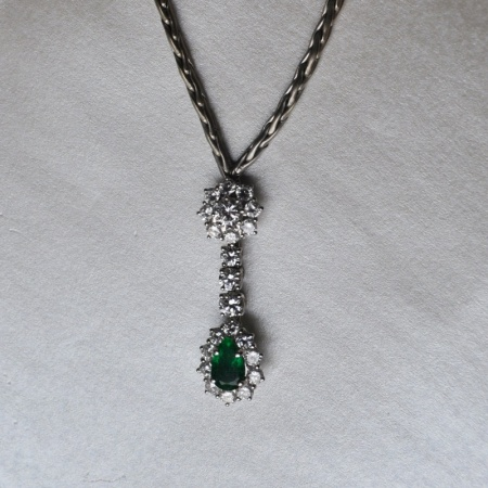 Whiite Gold Emerald/Diamond Pendant