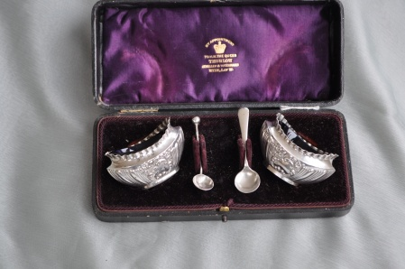 Boxed Solid Silver salts with spoons