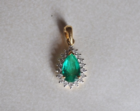 18ct Emerald and Diamond Pendant