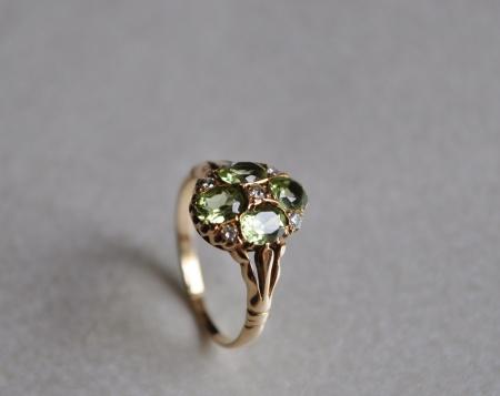9ct Yellow Gold Peridot/ Diamond