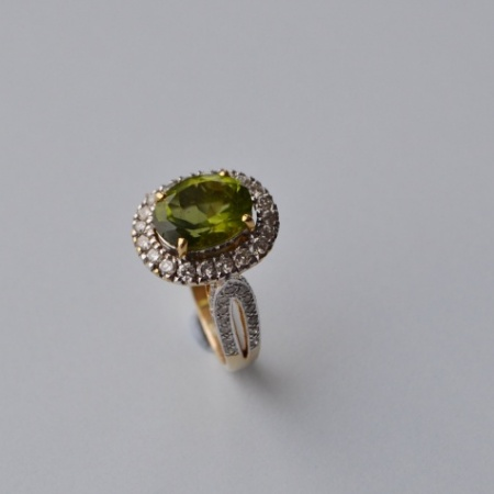 18ct Peridot Diamond Cluster