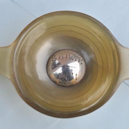 Silver inlaid Horn Quaich