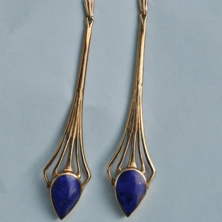 Art Deco Lapis Lazuli Earrings