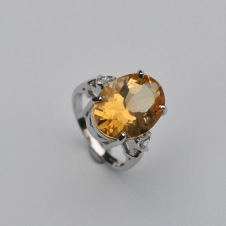 Silver Citrine and Diamond Ring