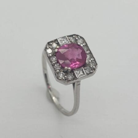 18ct WG Pink Sapphire Diamond