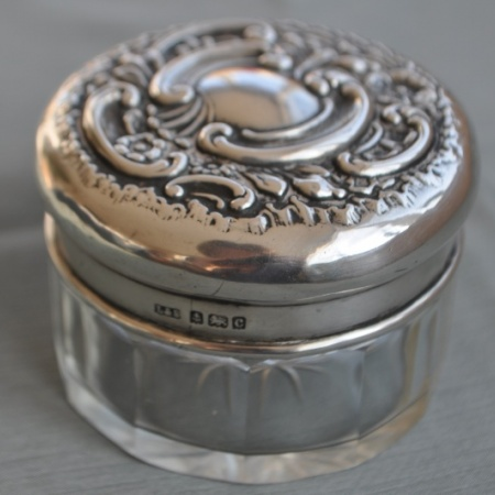 Silver topped Dressing Table pot