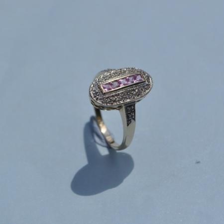 9ct Diamond Pink Sapphire Ring