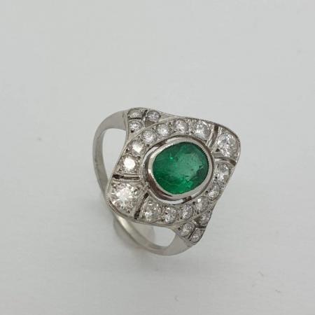 18ct WG Emerald Diamond Dress