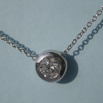 Diamond Pendant in a Rubover White Gold