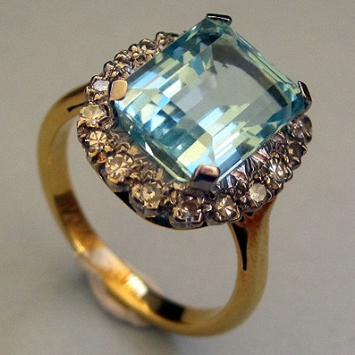 Emerald Cut Aquamarine and Diamond