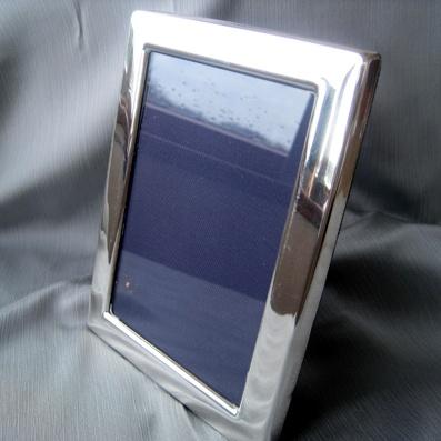 Silver Photo Frame with Blue Velvet Backing