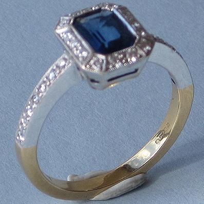 Sapphire and Bezel Set Diamond