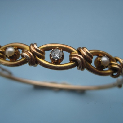 Victorian 9ct  Pearl  Diamond Bangle