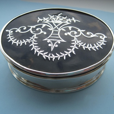Collectable Silver Tortoiseshell Trinket Box