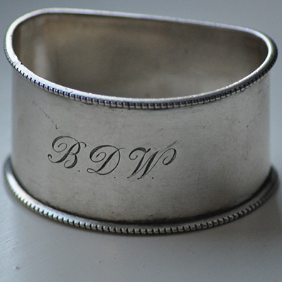 Flat Back Silver Napkin Ring