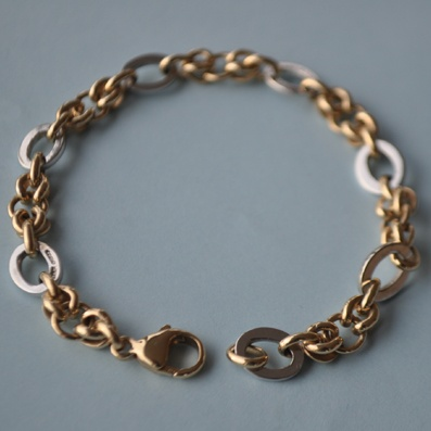 9ct Gold Bracelet in White and Yellow Gold