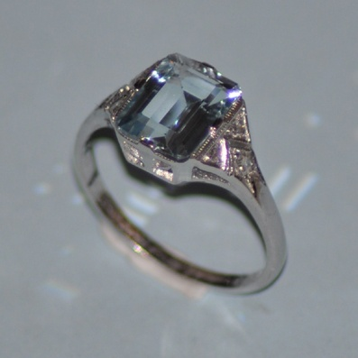 White Gold Emerald Cut Aquamarine Ring