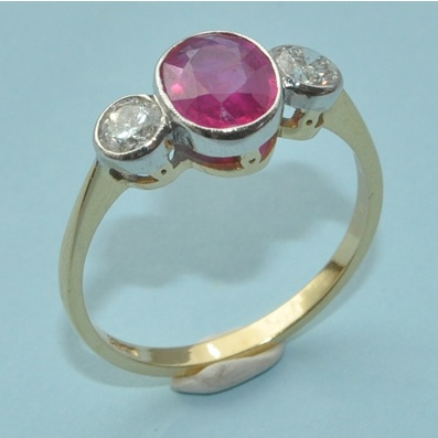 Ruby  Diamond Trilogy Ring